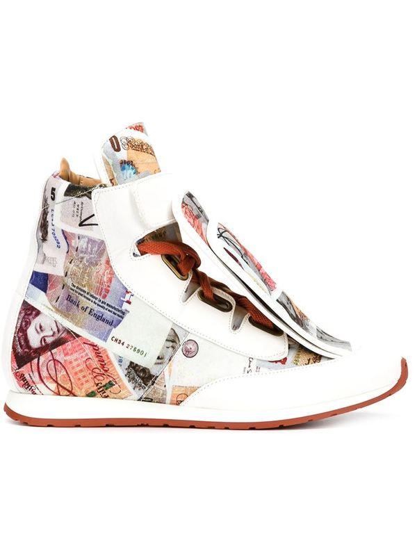 VIVIENNE WESTWOOD three-tongue money print sneakers