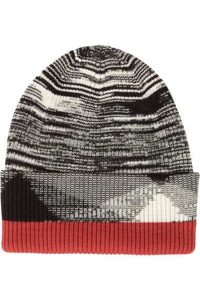 罗纹羊毛混纺套头帽