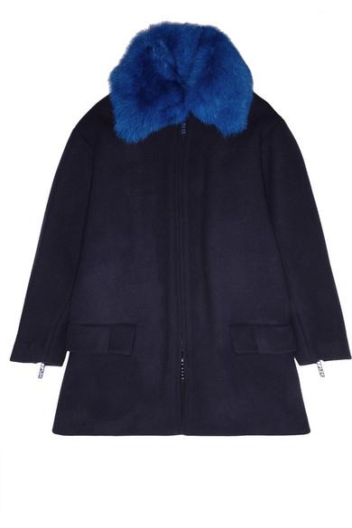 羊毛皮边饰羊毛混纺外套