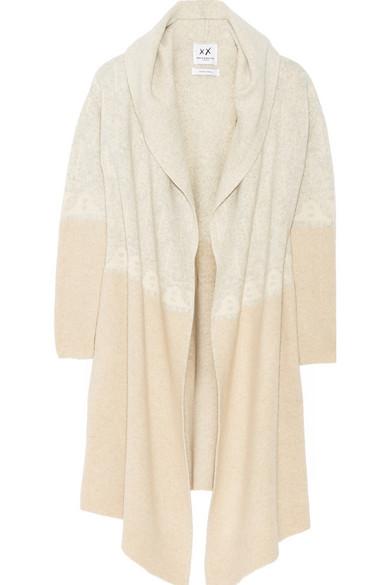 费尔岛式杂色图案针织羊绒连帽开襟衫