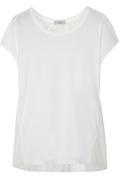 棉质混纺针织和蕾丝 T 恤