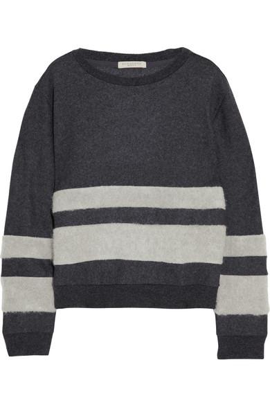 拼接羊毛混纺套头衫