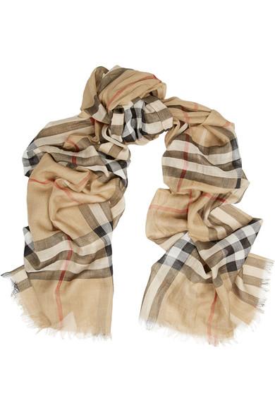 格纹羊毛真丝混纺围巾