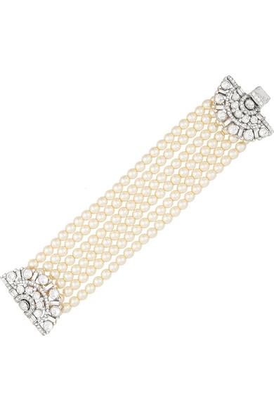 人造珍珠、施华洛世奇水晶、镀银手链
