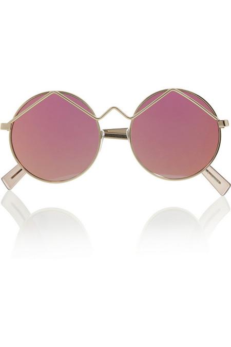Le Specs圆框金属反光太阳镜