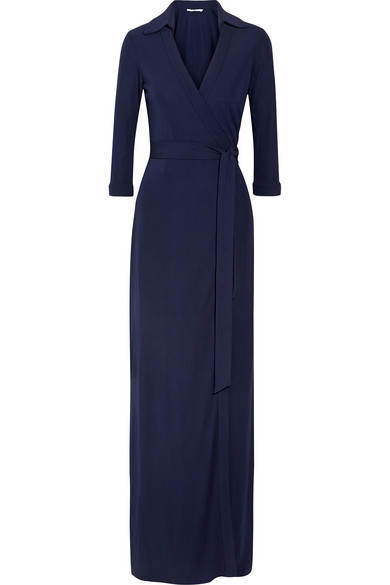Abigail 针织绉纱裹身超长连衣裙