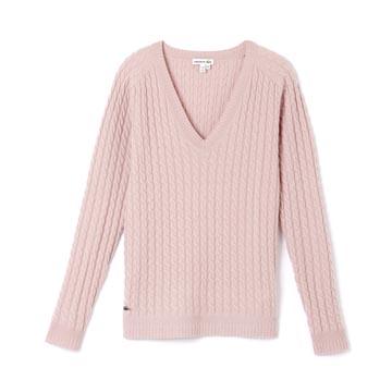 Lacoste 粉色螺纹针织衫