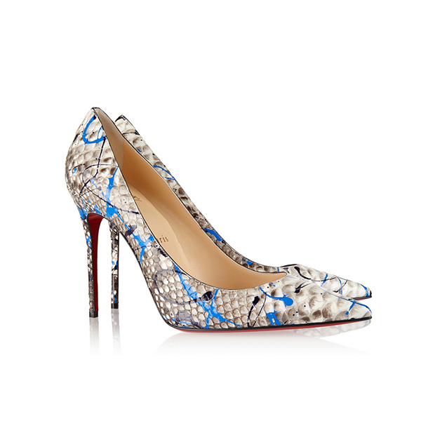 825c0d2130a6 Christian Louboutin Decollete 554 Painted Python Skin High Heels