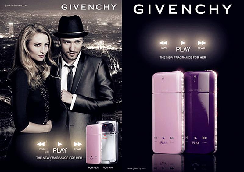 Givenchy推出的Play男士香水请了欧美流行天王Justin Timberlake做代言人,Justin做代言,那自然风格得往流行音乐走。整个香水瓶的造型别出心裁地设计为MP3播放器。这款男香现代感十足,优雅风度契合了Givenchy的一贯风格。此款男香也为木质香调,想象一下,音乐和自然的融合一定美好得无以言表。