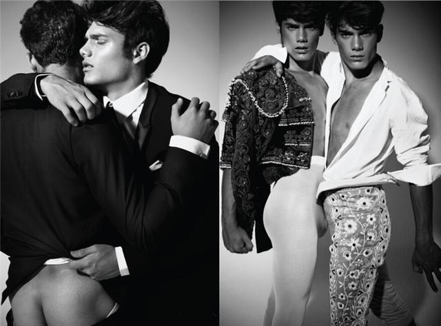 """来自西班牙的双胞胎模特Haydem Guerra和Raul Guerra在给外媒拍摄的时尚大片中上演了一出""""哥俩好,抱一块二""""的戏码。图中亮点不少,自己找吧!"""